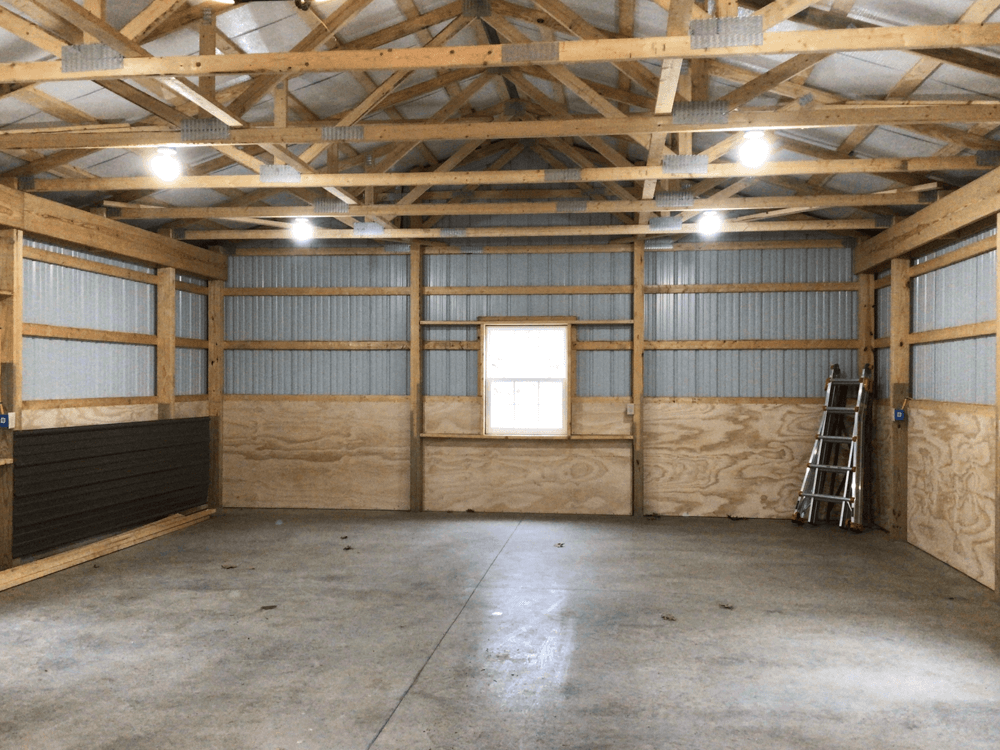 Inside the new pole barn